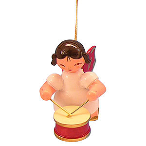 Angels Angel Ornaments Floating Angels - red wings Tree Ornament - Angel with Drum - Red Wings - Floating - 5,5 cm / 2,1 inch