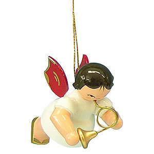 Tree ornaments Angel Ornaments Floating Angels - red wings Tree Ornament - Angel with French Horn - Red Wings - Floating - 5,5 cm / 2,1 inch