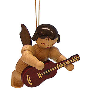 Tree ornaments Angel Ornaments Floating Angels - natural Tree Ornament - Angel with Guitar - Natural Colors - Floating - 5,5 cm / 2,1 inch