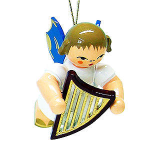 Angels Angel Ornaments Floating Angels - blue wings Tree Ornament - Angel with Lyre - Blue Wings - Floating - 5,5 cm / 2.1 inch