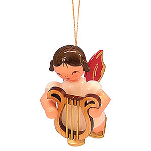 Tree ornaments Angel Ornaments Floating Angels - red wings Tree Ornament - Angel with Lyre - Red Wings - Floating - 5,5 cm / 2,1 inch