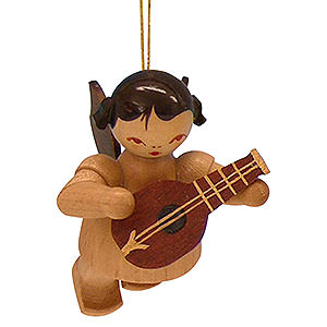 Tree ornaments Angel Ornaments Floating Angels - natural Tree Ornament - Angel with Mandolin - Natural Colors - Floating - 5,5 cm / 2,1 inch