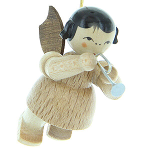 Tree ornaments Angel Ornaments Floating Angels - natural Tree Ornament - Angel with Piccolo Trumpet - Natural Colors - Floating - 5,5 cm / 2.2 inch