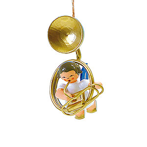 Angels Angel Ornaments Floating Angels - blue wings Tree Ornament - Angel with Sousaphone - Blue Wings - Floating - 5,5 cm / 2.2 inch