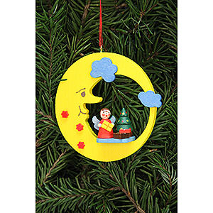 Tree ornaments Moon & Stars Tree Ornament - Angel with Tree in Moon - 8,3x7,9 cm / 3.3x3.1 inch