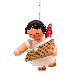 Angels Angel Ornaments Floating Angels - red wings Tree Ornament - Angel with Xylophone - Red Wings - Floating - 5,5 cm / 2.2 inch