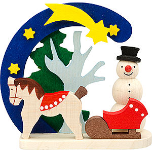 Tree ornaments Snowmen Tree Ornament - Arch and Snowman with Horse - 7 cm / 2.8 inch