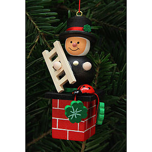 Tree ornaments Misc. Tree Ornaments Tree Ornament - Chimney Sweep on Chimney - 3,0x7,8 cm / 1x3 inch