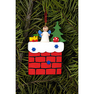 Tree ornaments Angel Ornaments Misc. Angels Tree Ornament - Chimney with Angel - 5,7x7,3 cm / 2.2x2.9 inch