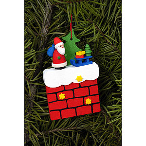 Tree ornaments Santa Claus Tree Ornament - Chimney with Santa Claus - 4,8x7,6 cm / 1.9x3.0 inch