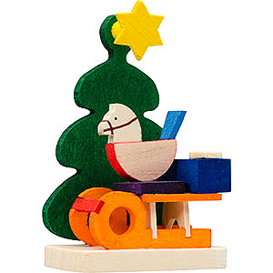 Tree ornaments Toy Design Tree Ornament - Christmas Tree with Present Sleigh - 5,5 cm / 2.2 inch