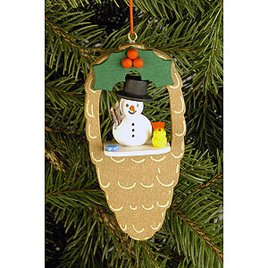 Tree ornaments Snowmen Tree Ornament - Cone with Snowman and Bird - 4,4x8,8 cm / 1.7x3.5 inch