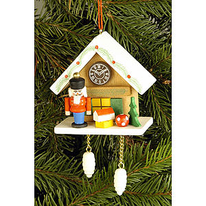 Tree ornaments Dwarfs & others Tree Ornament - Cuckoo Clock Brown with Nutcracker - 6,7x6,3 cm / 2.6x2.5 inch