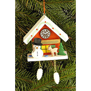 Tree ornaments Snowmen Tree Ornament - Cuckoo Clock Red with Snowman - 6,7x6,3 cm / 2.6x2.5 inch
