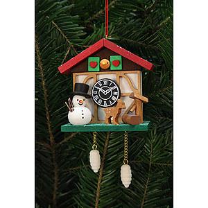 Tree ornaments Snowmen Tree Ornament - Cuckoo Clock Snowman with Well - 7,0x6,7 cm / 3x3 inch