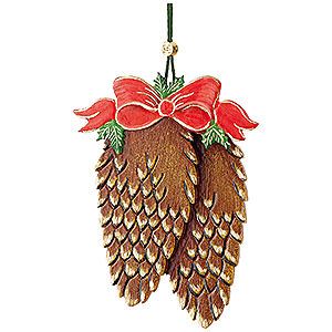 Tree ornaments Misc. Tree Ornaments Tree Ornament - Fir Cone with Bow - 10 cm / 3,9 inch