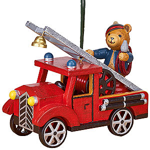 Tree ornaments Toy Design Tree Ornament - Fire Truck with Teddy - 8 cm / 3 inch