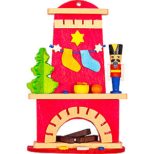 Tree ornaments Christmas Tree Ornament - Fireplace with Nutcracker - 9 cm / 3.5 inch