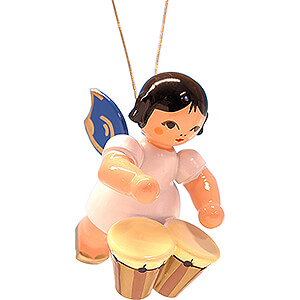 Tree ornaments Angel Ornaments Floating Angels - blue wings Tree Ornament - Floating Angel with Bongo Drums - Blue Wings - 5,5 cm / 2.2 inch