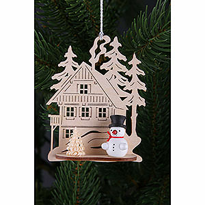 Tree ornaments Snowmen Tree Ornament - Forest House with Mini Snowman, Set of Three - 9x8 cm / 3.5x3. inch