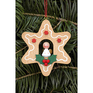 Tree ornaments Angel Ornaments Misc. Angels Tree Ornament - Ginger Bread Small with Angel - 6,9x6,9 cm / 2.7x2.7 inch