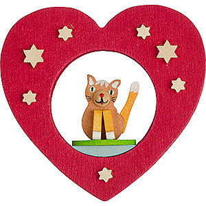 Tree ornaments Misc. Tree Ornaments Tree Ornament - Heart with Cat - 7 cm / 2.8 inch