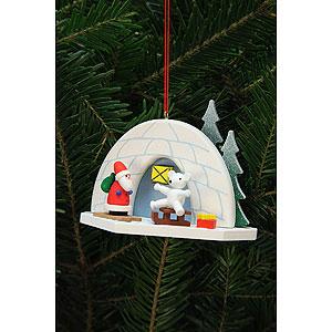 Tree ornaments Santa Claus Tree Ornament - Iglo with Icebear - 9,2x7,0 cm / 4x3 inch