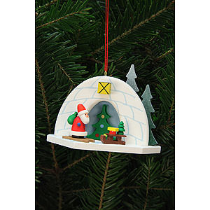 Tree ornaments Santa Claus Tree Ornament - Igloo with Niko - 9,2x7,0 cm / 4x3 inch