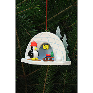 Tree ornaments Winterly Tree Ornament - Igloo with Penguin - 9,2x7,0 cm / 4x3 inch