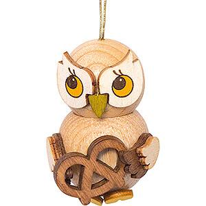 Tree ornaments Misc. Tree Ornaments Tree Ornament - Owl Child with Pretzel - 4 cm / 1.6 inch
