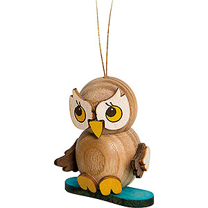 Tree ornaments Winterly Tree Ornament - Owl Child with Snowboard - 4 cm / 1.6 inch