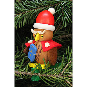Tree ornaments Santa Claus Tree Ornament - Owl Santa Claus on Clip - 4,8x7,3 cm / 1.9x2.9 inch