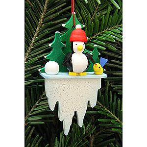 Tree ornaments Misc. Tree Ornaments Tree Ornament - Penguin on Icicle - 5,5x8,8 cm / 2.2x3.4 inch