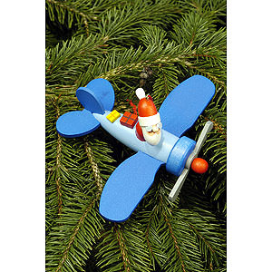 Tree ornaments Santa Claus Tree Ornament - Santa Claus in Plane - 10,0x5,0 cm / 4.0x2.0 inch