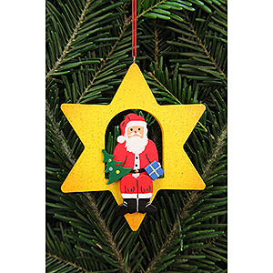 Tree ornaments Santa Claus Tree Ornament - Santa Claus in Star - 9,5x9,5 cm / 3.7x3.7 inch