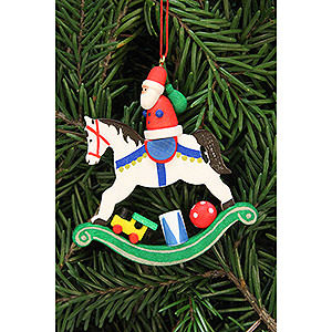 Tree ornaments Santa Claus Tree Ornament - Santa Claus on Rocking Horse - 6,8x7,1 cm / 2.7x2.8 inch