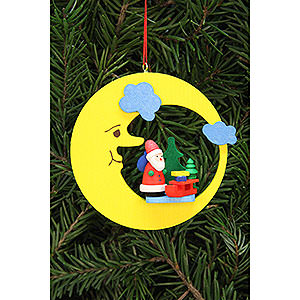 Tree ornaments Santa Claus Tree Ornament - Santa Claus with Sleigh in Moon - 8,3x7,9 cm / 3.3x3.1 inch