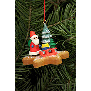 Tree ornaments Santa Claus Tree Ornament - Santa on Ginger Bread Star - 5,2x4,1 cm / 2x2 inch