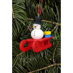 Tree ornaments Snowmen Tree Ornament - Sleigh with Snowman - 5,2x4,5 cm / 2.0x1.8 inch