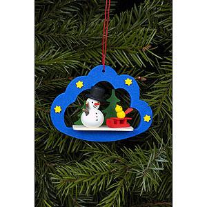 Tree ornaments Snowmen Tree Ornament - Snowman in Angel Cloud - 7,5x5,7 cm / 3x2 inch