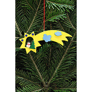 Tree ornaments Snowmen Tree Ornament - Snowman in Shooting Star - 13x5,5 cm / 5.1x2.2 inch
