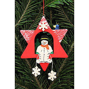 Tree ornaments Snowmen Tree Ornament - Snowman in Star - 9,5x9,5 cm / 3.7x3.7 inch