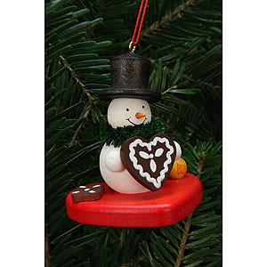 Tree ornaments Snowmen Tree Ornament - Snowman on Heart - 5,1x5,6 cm / 2x2 inch