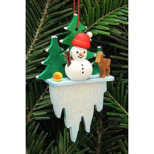 Tree ornaments Snowmen Tree Ornament - Snowman on Icicle - 5,5x8,8 cm / 2.2x3.4 inch