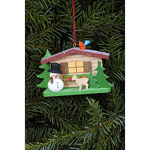 Tree ornaments Snowmen Tree Ornament - Snowman with Alpine House - 9,3x5,3 cm / 3.7x2.1 inch