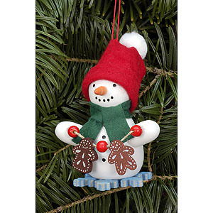 Tree ornaments Snowmen Tree Ornament - Snowman with Ginger Bread - 6,0x8,0 cm / 2.4x3.1 inch