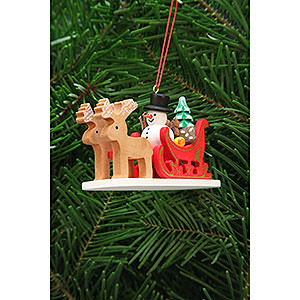 Tree ornaments Toy Design Tree Ornament - Snowman with Reindeer Sleigh - 9,7 cm / 3.8 inch