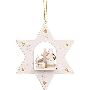 Tree ornaments Santa Claus Tree Ornament - Star White Santa with Sled - 9,6 cm / 3.8 inch