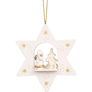 Tree ornaments Santa Claus Tree Ornament - Star White with Santa Claus - 9,6 cm / 3.8 inch