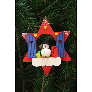 Tree ornaments Snowmen Tree Ornament - Star Window with Snowman - 9,5x9,5 cm / 4x4 inch